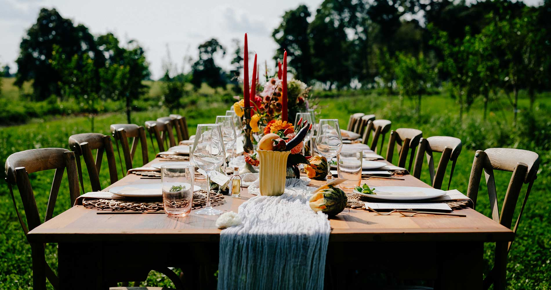 Farm table and cross back chairs - Chiavari Chairs
