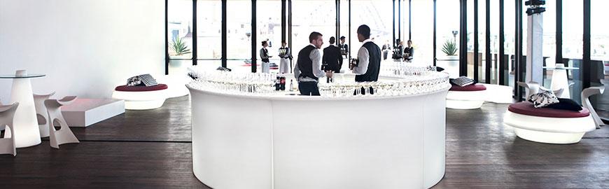 white LED circular glow bar with modern lounge furniture