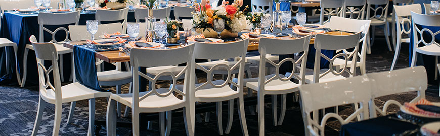 contemporary white resin event chairs